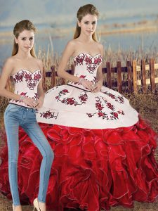 White And Red Sweetheart Neckline Embroidery and Ruffles and Bowknot Ball Gown Prom Dress Sleeveless Lace Up
