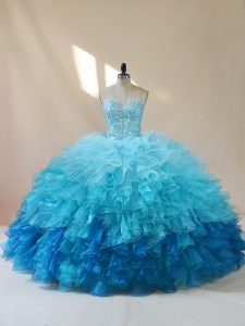 Fantastic Multi-color Organza Lace Up Sweetheart Sleeveless Floor Length Quinceanera Gown Beading and Ruffles