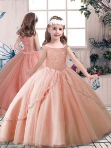 Peach Sleeveless Beading Floor Length Girls Pageant Dresses