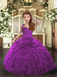 Trendy Purple Organza Lace Up Straps Sleeveless Floor Length Pageant Dress for Teens Ruffles