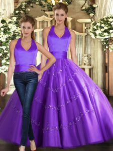 Cute Sleeveless Tulle Floor Length Lace Up Quince Ball Gowns in Purple with Beading