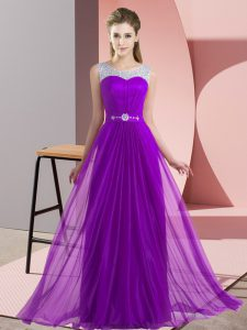 Purple Sleeveless Chiffon Lace Up Dama Dress for Wedding Party