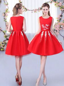 Red Sleeveless Knee Length Appliques Zipper Quinceanera Court of Honor Dress