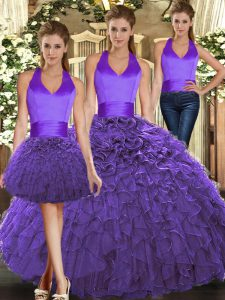 Beauteous Purple Three Pieces Halter Top Sleeveless Organza Floor Length Lace Up Ruffles Sweet 16 Quinceanera Dress