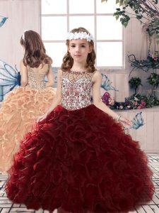 Elegant Scoop Sleeveless Kids Formal Wear Floor Length Beading and Ruffles Burgundy Organza
