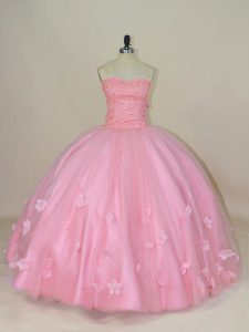 Pretty Floor Length Ball Gowns Sleeveless Baby Pink Sweet 16 Dresses Lace Up