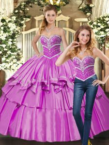 Fantastic Floor Length Lace Up Sweet 16 Dresses Lilac for Sweet 16 and Quinceanera with Beading
