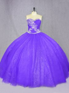 Wonderful Purple Lace Up Sweetheart Beading Quinceanera Dresses Tulle Sleeveless