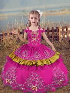 Floor Length Ball Gowns Sleeveless Fuchsia Little Girl Pageant Dress Lace Up