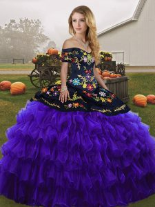 Black And Purple Ball Gowns Off The Shoulder Sleeveless Organza Floor Length Lace Up Embroidery and Ruffled Layers Sweet 16 Dresses