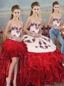 Decent Organza Sweetheart Sleeveless Lace Up Embroidery and Ruffles and Bowknot Quinceanera Gown in White And Red