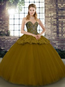 Brown Ball Gowns Beading and Appliques Ball Gown Prom Dress Lace Up Tulle Sleeveless Floor Length