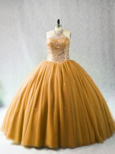 Gold Halter Top Neckline Beading Vestidos de Quinceanera Sleeveless Lace Up