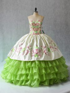 Luxurious Green Sleeveless Ruffled Layers Floor Length Ball Gown Prom Dress