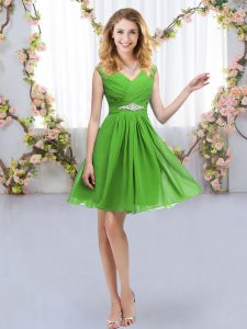 Flirting V-neck Zipper Belt Dama Dress Sleeveless