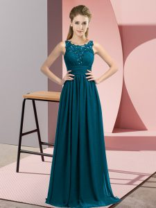 Shining Teal Chiffon Zipper Dama Dress Sleeveless Floor Length Beading and Appliques