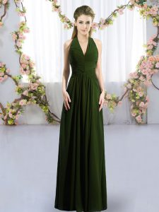 Olive Green Chiffon Lace Up Halter Top Sleeveless Floor Length Damas Dress Ruching