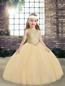 Peach Scoop Lace Up Beading Pageant Dress for Girls Sleeveless