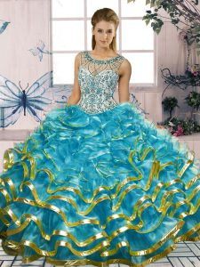Extravagant Blue Sleeveless Beading and Ruffles Floor Length Vestidos de Quinceanera