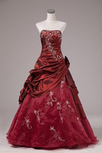 Sophisticated Ball Gowns Quince Ball Gowns Burgundy Strapless Organza and Taffeta Sleeveless Floor Length Lace Up