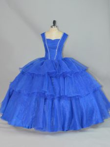 Decent Beading and Ruffled Layers Vestidos de Quinceanera Blue Lace Up Sleeveless Floor Length