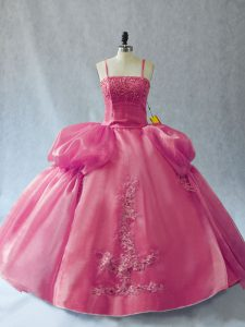 Inexpensive Floor Length Ball Gowns Sleeveless Pink Sweet 16 Quinceanera Dress Lace Up