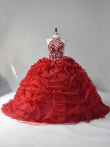 Gorgeous Beading and Pick Ups Quinceanera Gown Wine Red Lace Up Sleeveless Court Train