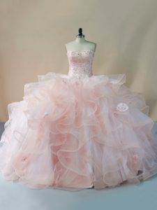Edgy Tulle Sweetheart Sleeveless Brush Train Lace Up Beading and Ruffles and Hand Made Flower Sweet 16 Dresses in Pink
