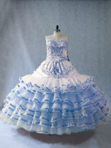Suitable Floor Length Ball Gowns Sleeveless Blue And White Quince Ball Gowns Lace Up