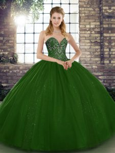 Most Popular Green Ball Gowns Tulle Sweetheart Sleeveless Beading Floor Length Lace Up Vestidos de Quinceanera