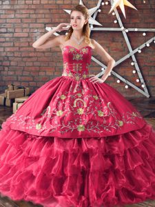 Red Sleeveless Satin and Organza Lace Up Sweet 16 Dresses for Sweet 16 and Quinceanera