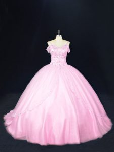 Baby Pink Lace Up Off The Shoulder Beading Quinceanera Gowns Tulle Sleeveless Court Train
