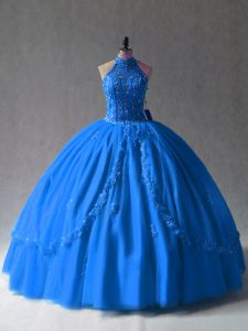 Hot Sale Royal Blue Sleeveless Floor Length Beading and Appliques Side Zipper Quinceanera Dress