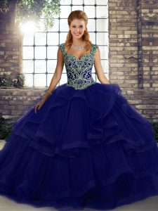 Purple Tulle Lace Up Quince Ball Gowns Sleeveless Floor Length Beading and Ruffles