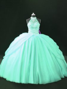 Apple Green Tulle Lace Up Halter Top Sleeveless Floor Length Quinceanera Gowns Beading