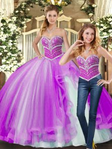 Trendy Floor Length Lace Up Quince Ball Gowns Lilac for Sweet 16 and Quinceanera with Beading