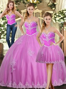 Custom Designed Sweetheart Sleeveless Lace Up Sweet 16 Dress Lilac Tulle