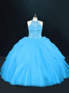 Custom Designed Aqua Blue Ball Gowns Halter Top Sleeveless Tulle Floor Length Lace Up Beading 15th Birthday Dress