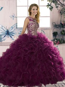 Excellent Scoop Sleeveless Organza Vestidos de Quinceanera Beading and Ruffles Lace Up