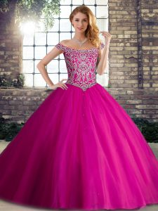Fuchsia Sleeveless Beading Lace Up Vestidos de Quinceanera