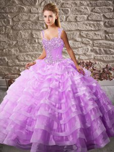 Lilac Straps Lace Up Beading and Ruffled Layers Quince Ball Gowns Sleeveless