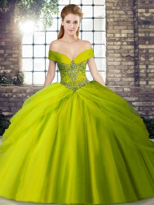 Lovely Beading and Pick Ups 15th Birthday Dress Olive Green Lace Up Sleeveless Brush Train