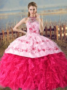 Flare Hot Pink Halter Top Lace Up Embroidery and Ruffles 15 Quinceanera Dress Court Train Sleeveless
