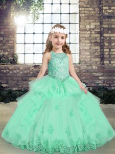Sweet Apple Green Sleeveless Floor Length Lace and Appliques Lace Up Little Girls Pageant Gowns