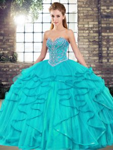Adorable Sweetheart Sleeveless Tulle Quince Ball Gowns Beading and Ruffles Lace Up