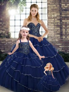Cute Ball Gowns Sleeveless Navy Blue Quinceanera Gowns Brush Train Lace Up