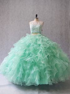 Scoop Sleeveless Zipper Quinceanera Gowns Apple Green Organza