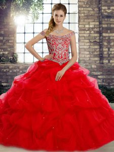 Red Ball Gowns Tulle Off The Shoulder Sleeveless Beading and Pick Ups Lace Up Quinceanera Dresses Brush Train