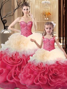 Fitting Floor Length Ball Gowns Sleeveless Multi-color Ball Gown Prom Dress Lace Up