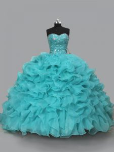 Charming Sweetheart Sleeveless Lace Up 15th Birthday Dress Aqua Blue Organza